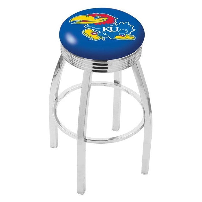 Kansas Jayhawks Chrome Ribbed Ring Bar Stool - Sports Fans Plus