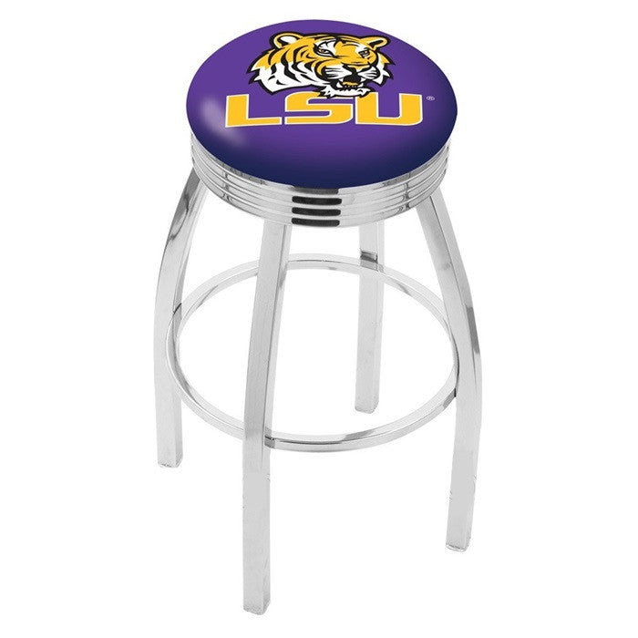 Louisiana State Tigers Chrome Ribbed Ring Bar Stool - Sports Fans Plus