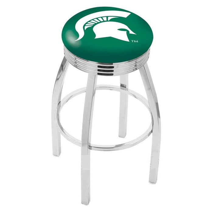 Michigan State Spartans Chrome Ribbed Ring Bar Stool - Sports Fans Plus