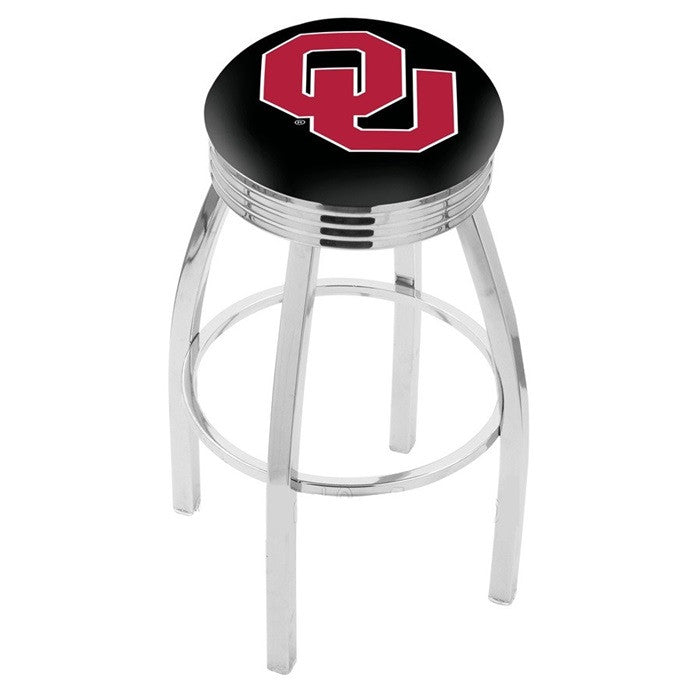 Oklahoma Sooners Chrome Ribbed Ring Bar Stool - Sports Fans Plus