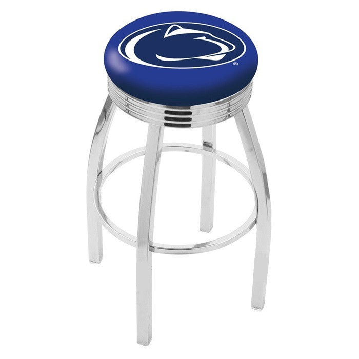 Penn State Nittany Lions Chrome Ribbed Ring Bar Stool - Sports Fans Plus