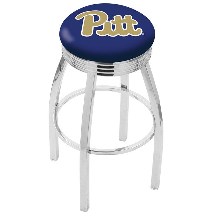 Pitt Panthers Chrome Ribbed Ring Bar Stool - Sports Fans Plus