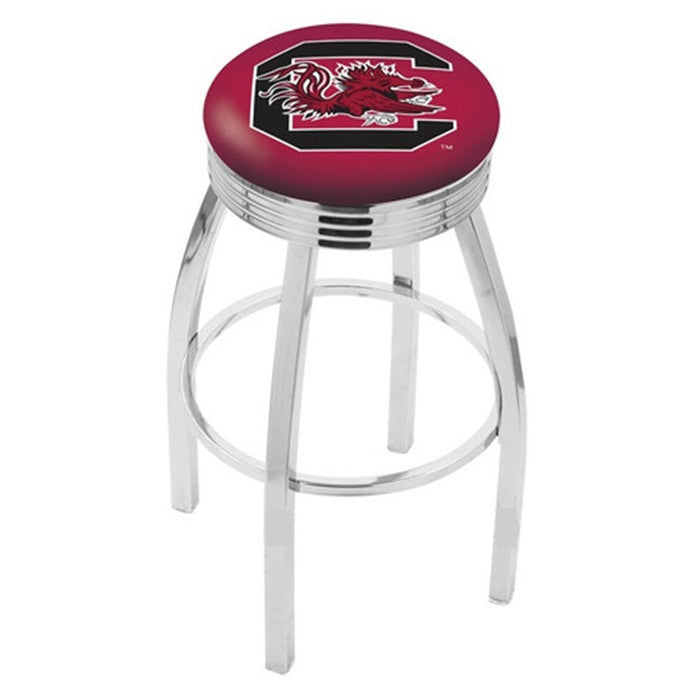 South Carolina Gamecocks Chrome Ribbed Ring Bar Stool - Sports Fans Plus