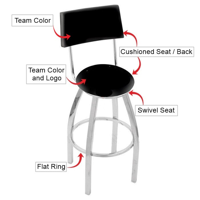 North Carolina State Wolfpack Chrome Bar Stool with Back