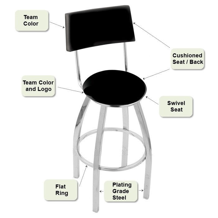 Chrome Bar Stool with Back Features