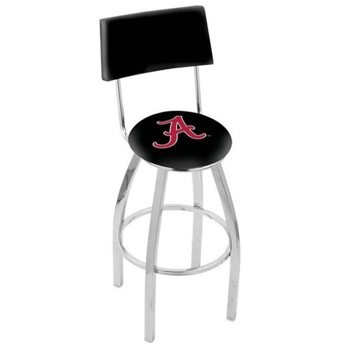 Alabama Crimson Tide A D1 Chrome Bar Stool with Back - SportsFansPlus.com