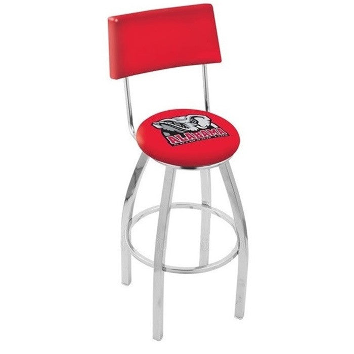 Alabama Crimson Tide Elephant D1 Chrome Bar Stool with Back - SportsFansPlus.com