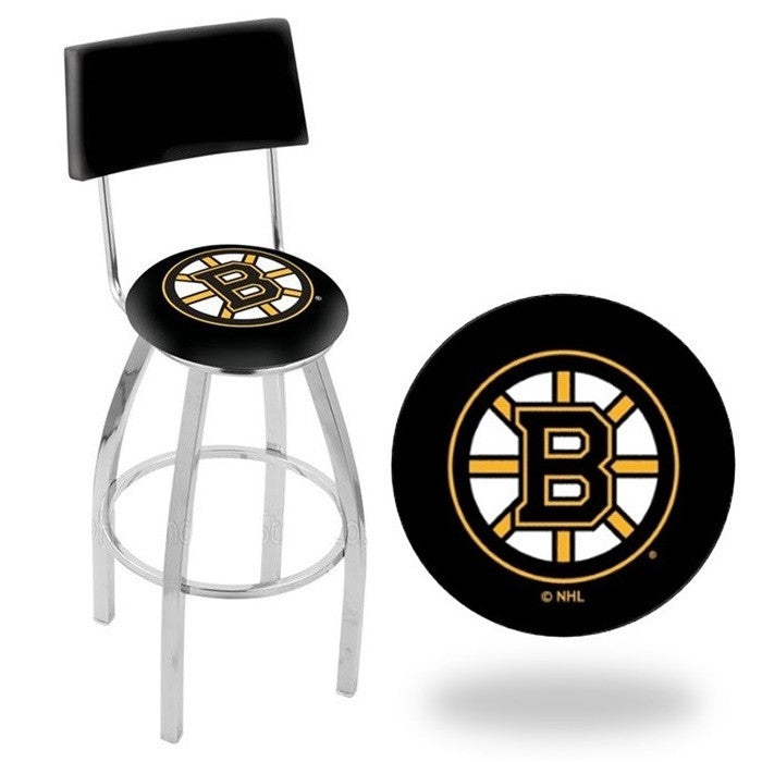 Boston Bruins NHL D1 Chrome Bar Stool with Back