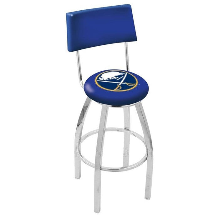 Buffalo Sabres NHL Modern Chrome Bar Stool with Back - Sports Fans Plus