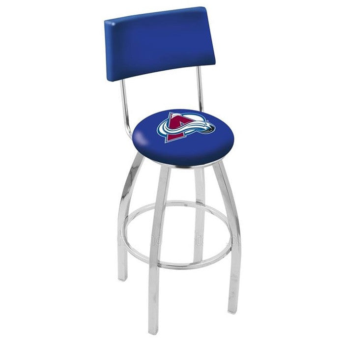 Colorado Avalanche NHL Chrome Bar Stool with Back - Sports Fans Plus