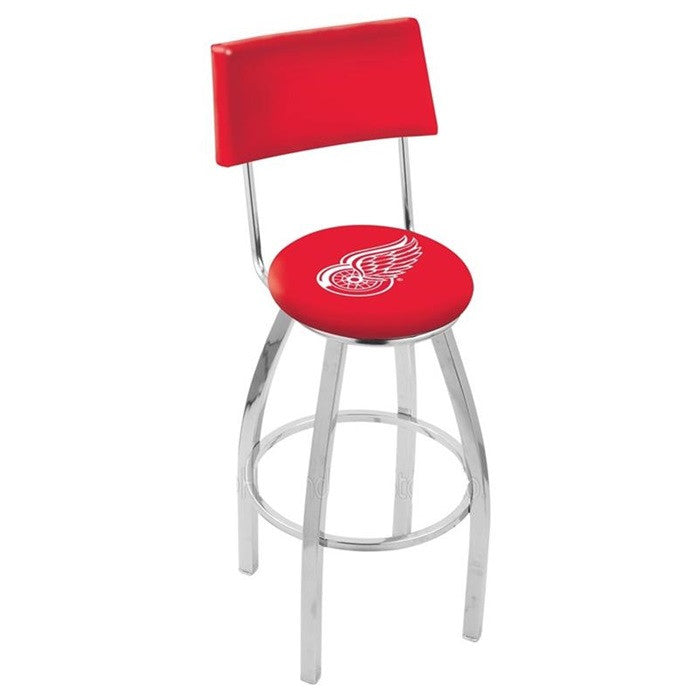 Detroit Red Wings Bar Stool with Back - Sports Fans Plus
