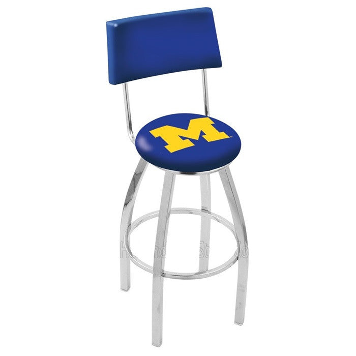 Michigan Wolverines Bar Stool with Back - Sports Fans Plus