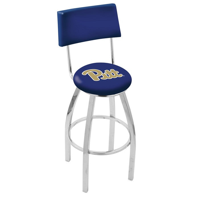 Pitt Panthers Chrome Bar Stool with Back - Sports Fans Plus