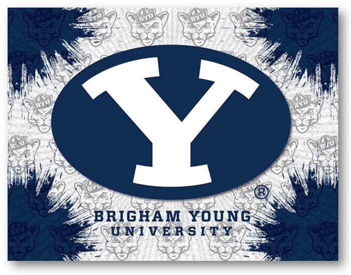 Brigham Young Cougars D1 Printed Logo Canvas