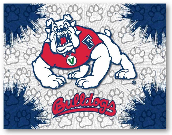 Fresno State Bulldogs D1 Printed Logo Canvas
