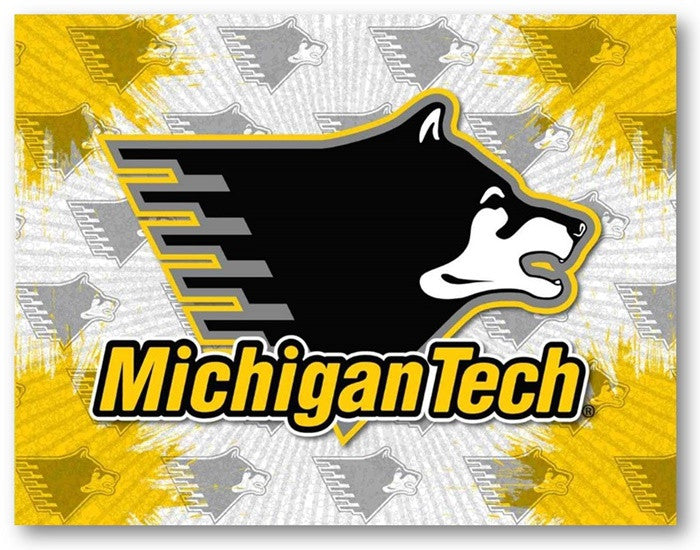 Michigan Tech Huskies D1 Printed Logo Canvas