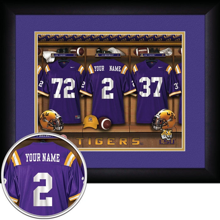 Louisiana State Tigers Personalized Locker Room Print - Sports Fans Plus  - 1