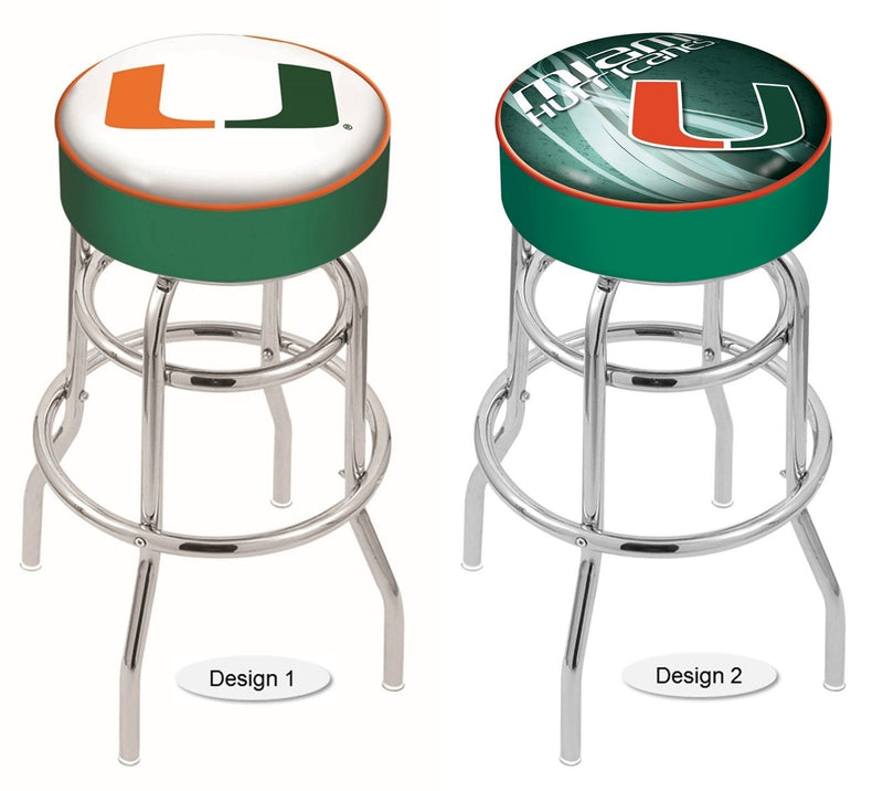 Miami Hurricanes Retro Chrome Bar Stool