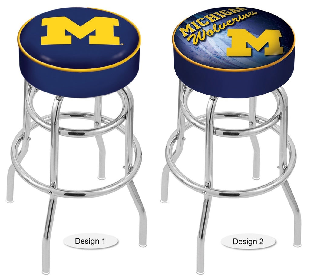 Michigan Wolverines Retro Chrome Bar Stool