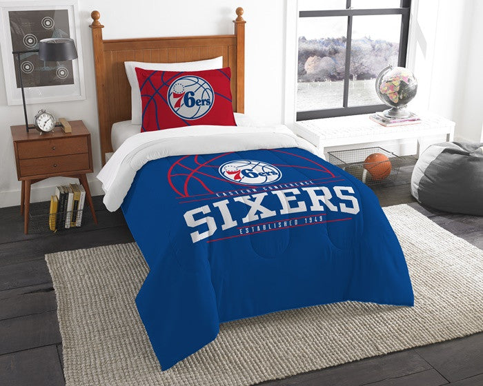 Philadelphia 76ers NBA Reverse Slam Twin Comforter and Sham Set