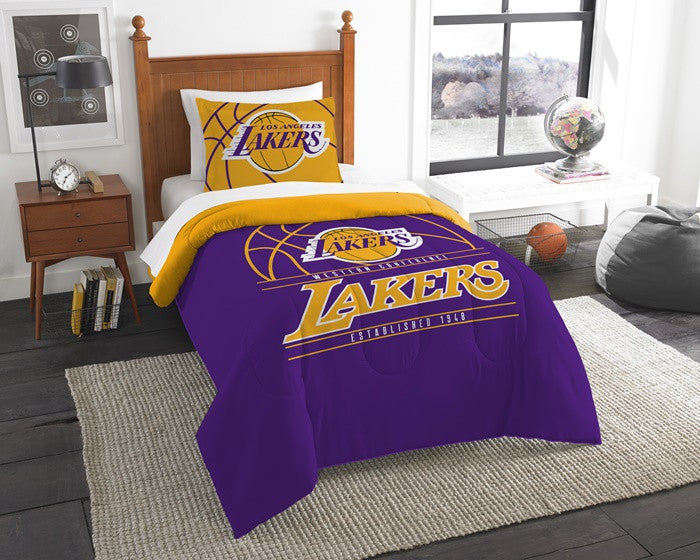 Los Angeles Lakers NBA Reverse Slam Twin Comforter and Sham Set