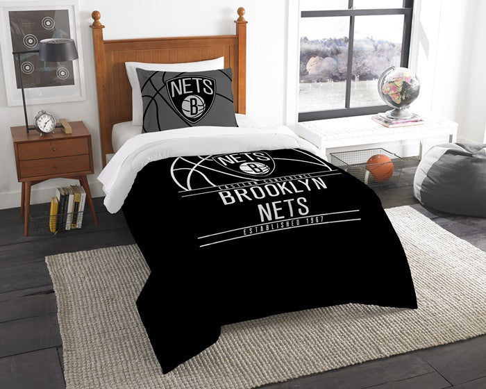 Brooklyn Nets NBA Reverse Slam Twin Comforter and Sham Set
