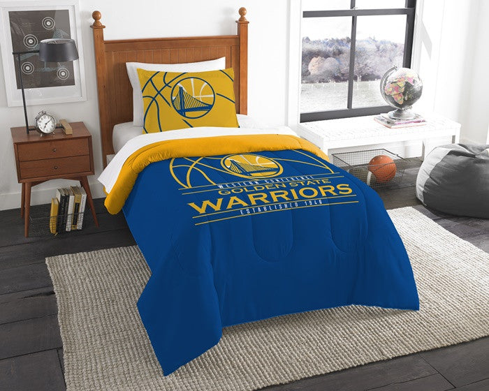 Golden State Warriors NBA Reverse Slam Twin Comforter and Sham Set