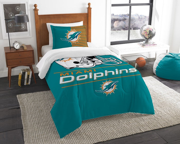 Miami Dolphins NFL Draft Twin Comforter Set
