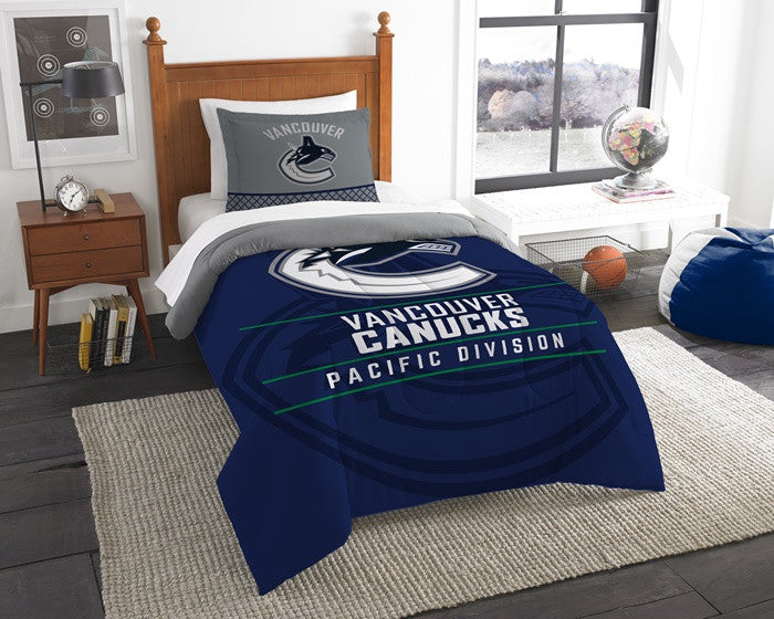 Vancouver Canucks NHL Draft Twin Comforter and Sham Set