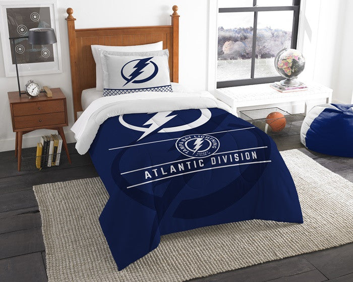 Tampa Bay Lightning NHL Draft Twin Comforter and Sham Set