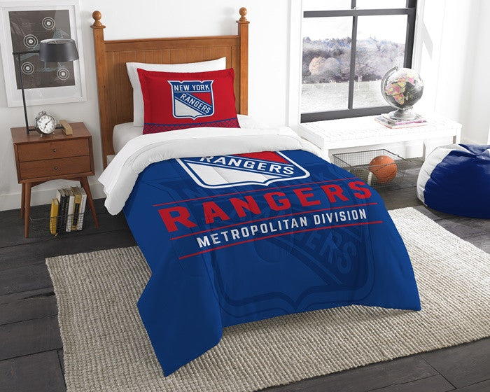 New York Rangers NHL Draft Twin Comforter and Sham Set