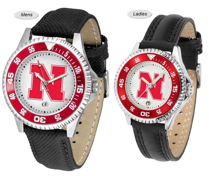 Nebraska Huskers Competitor Sport Leather Watch
