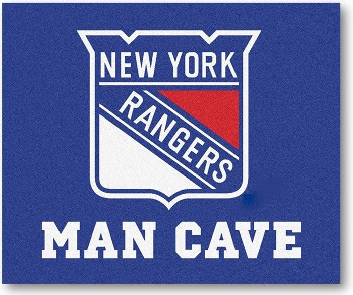 New York Rangers NHL Man Cave Tailgate Rug - Sports Fans Plus
