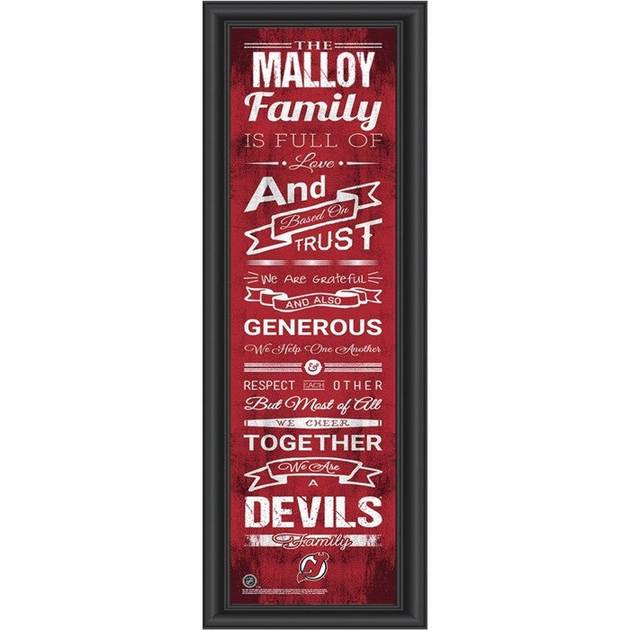 New Jersey Devils NHL Personalized Family Cheer Print