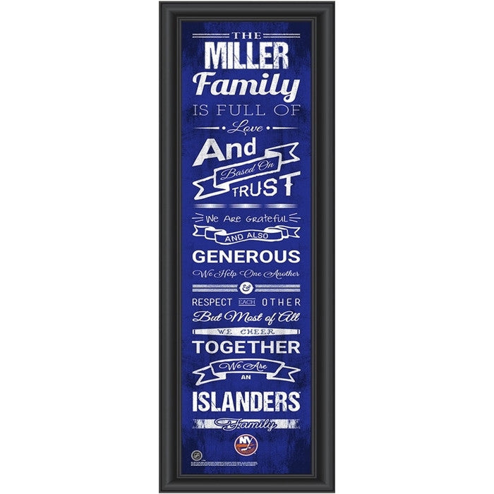 New York Islanders NHL Personalized Family Cheer Print