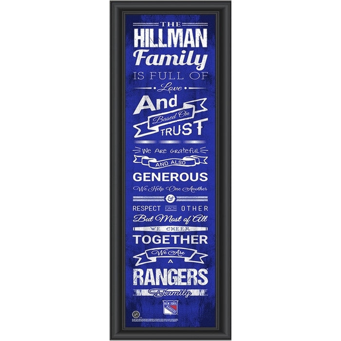 New York Rangers NHL Personalized Family Cheer Print