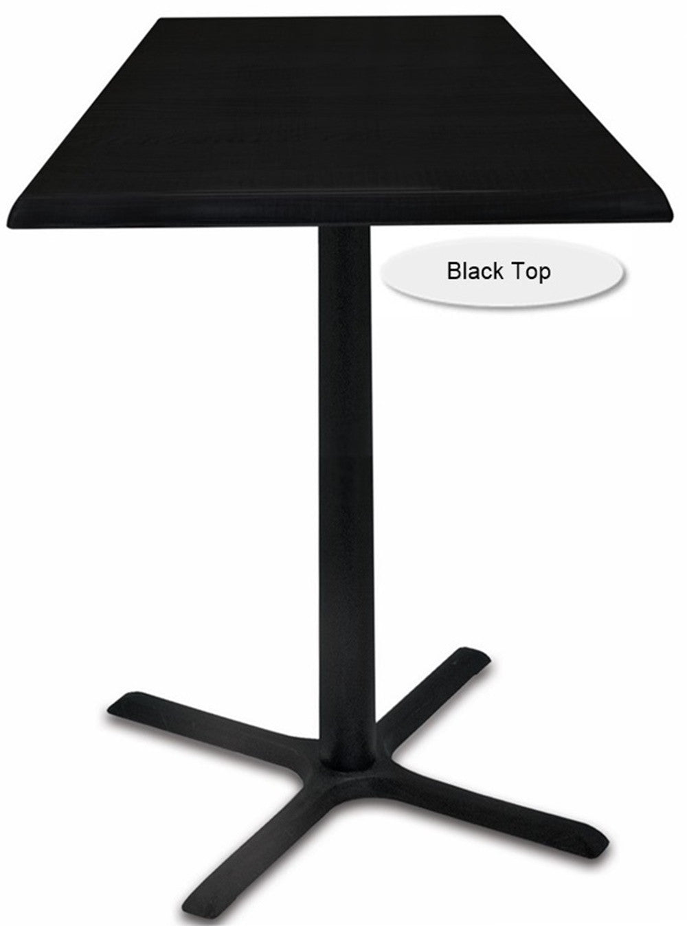 Black X-Base Square Indoor / Outdoor Table - Black Top