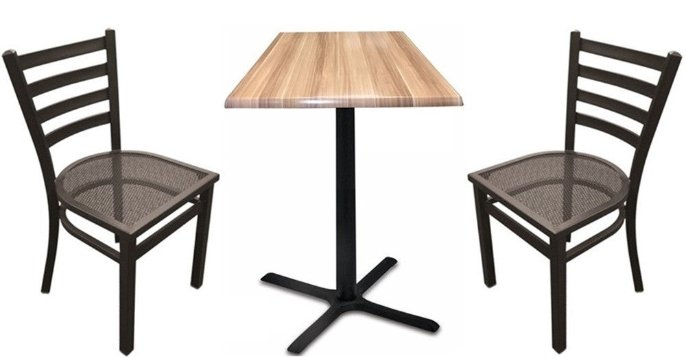 Black X-Base Square-Top Indoor Outdoor Table Set with Chairs