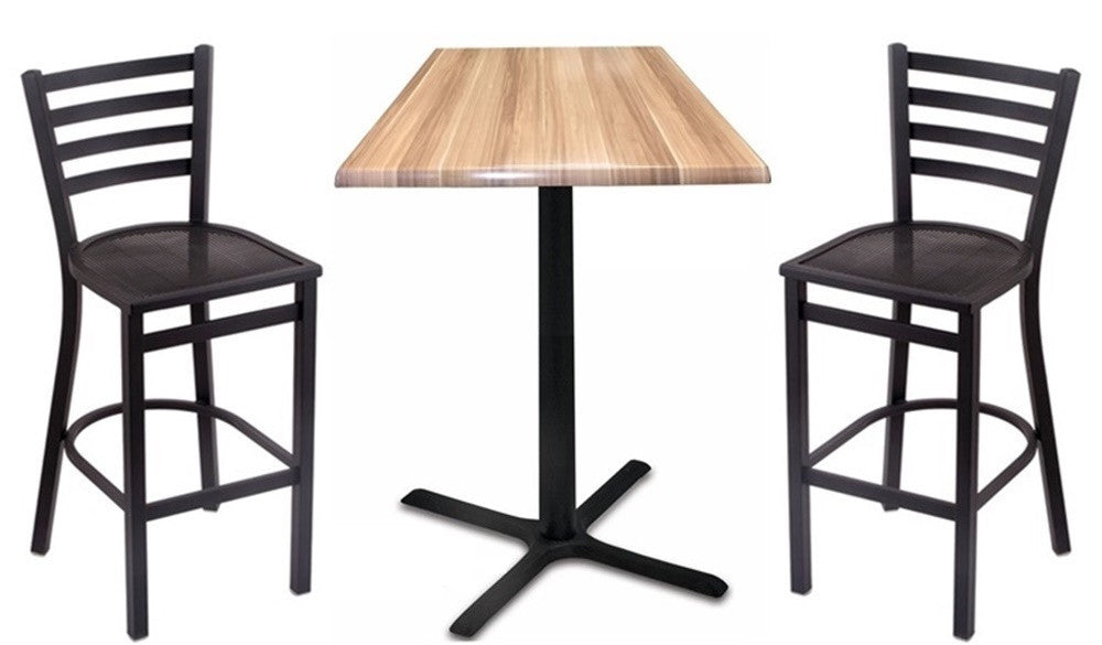 Black X-Base Square-Top Indoor Outdoor Table Set with Stools