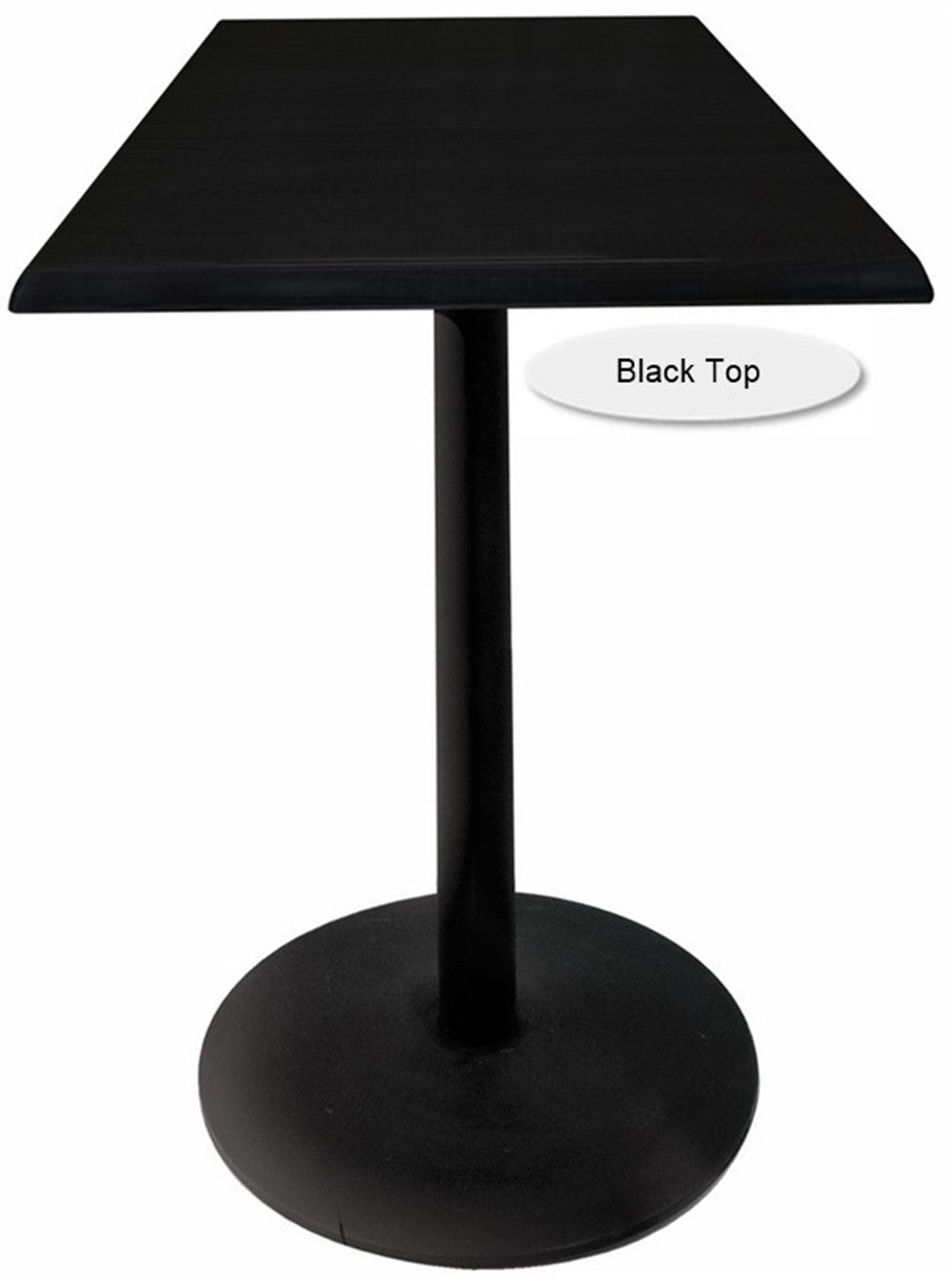 Black Round-Base Square-Top Indoor Outdoor Table - Black Top