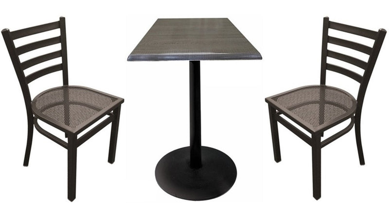 Black Round-Base Square-Top Indoor Outdoor Table Set with Chairs