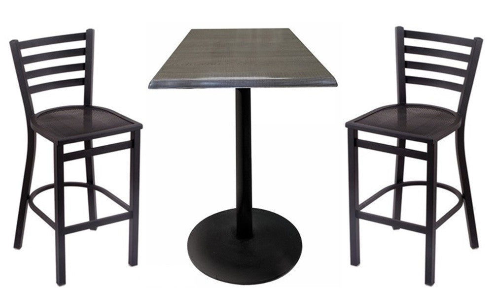 Black Round-Base Square-Top Indoor Outdoor Table Set with Stools