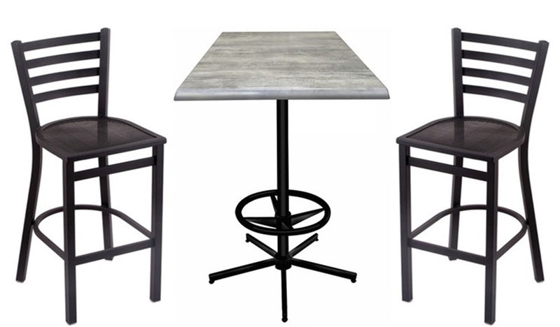 Black Retro-Base Square-Top Indoor Outdoor Table Set with Stools