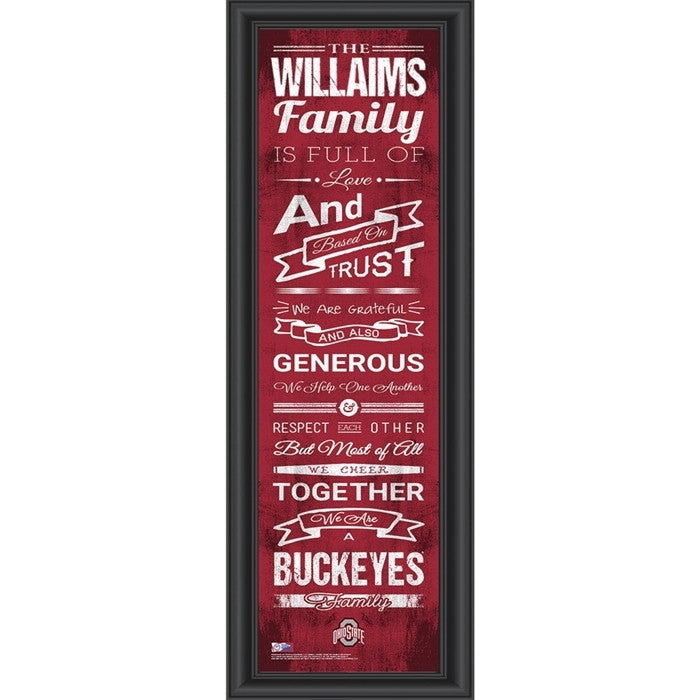 Ohio State Buckeyes Personalized Family Cheer Print