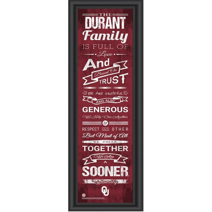Oklahoma Sooners Personalized Family Cheer Print