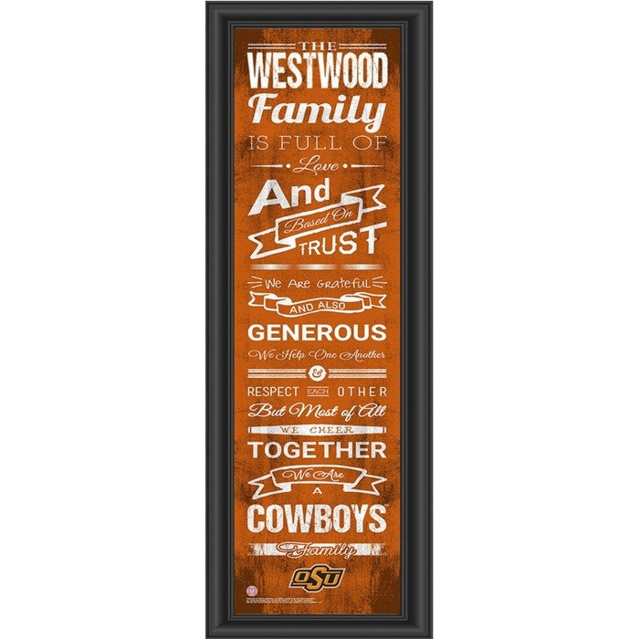 Oklahoma State Cowboys Personalized Family Cheer Print - Sports Fans Plus