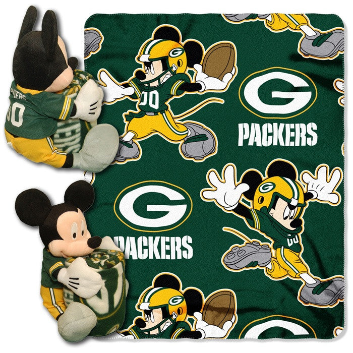 Green Bay Packers NFL Mickey Mouse Hugger with Throw - Sports Fans Plus