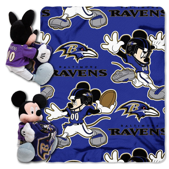 Baltimore Ravens NFL Mickey Mouse Hugger with Throw - Sports Fans Plus