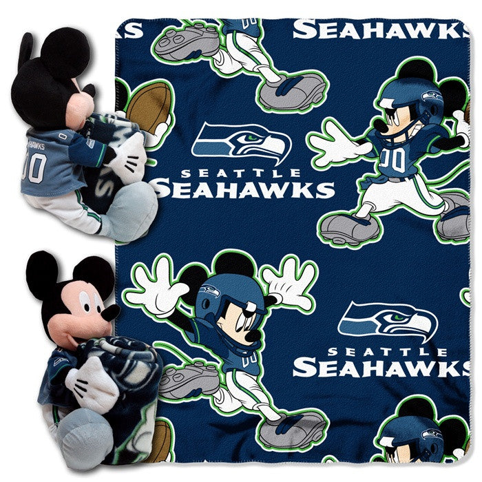 Seattle Seahawks NFL Mickey Mouse Hugger with Throw - Sports Fans Plus