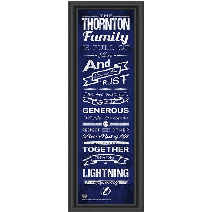 Tampa Bay Lightning NHL Personalized Family Cheer Print